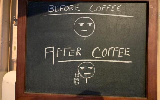 Different before and after a cup of coffee