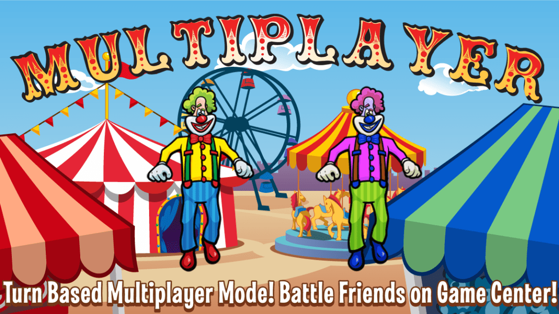 Laugh Clown Professional Balloon Dodger annotated screenshot: 'Turn Based Multiplayer Mode! Battle friends on Game Center!'