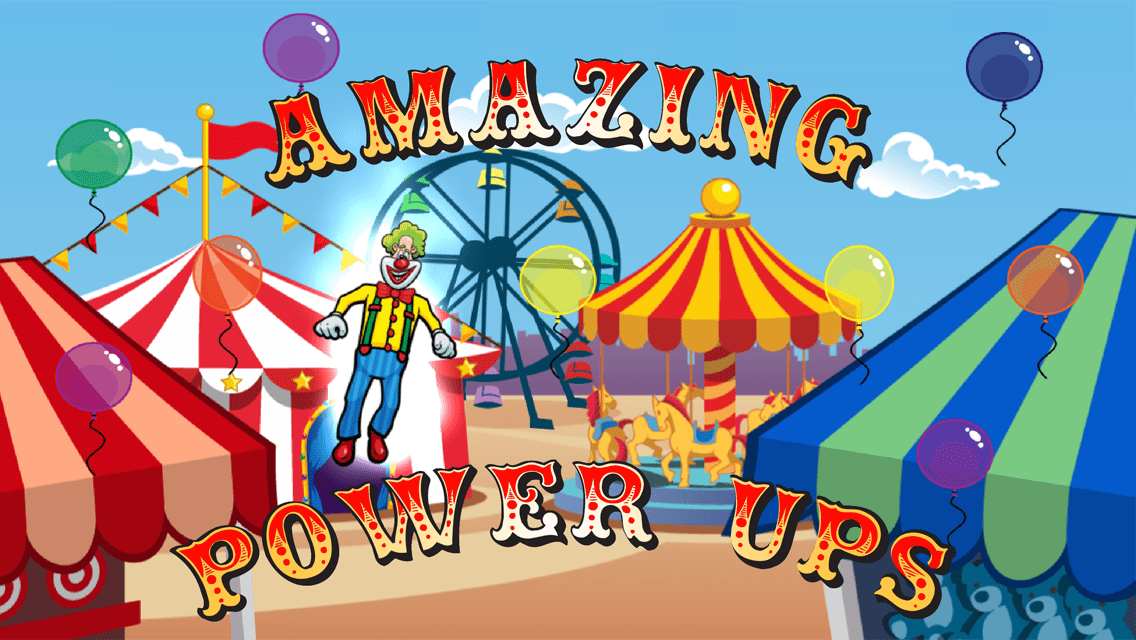 Laugh Clown Professional Balloon Dodger app screenshot: 'Amazing Power Ups.'