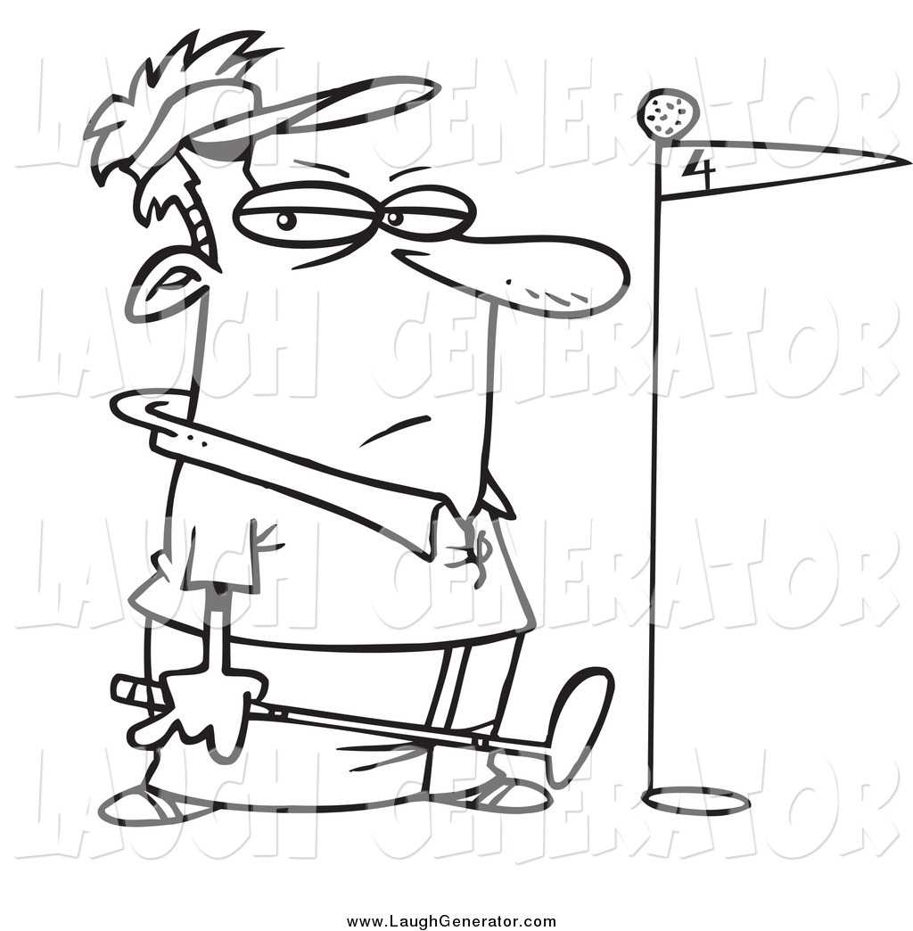 Humorous Clip Art Of A Black And White Grumpy Golfer With