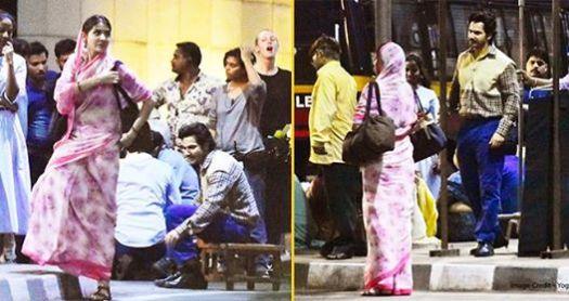 Varun Dhawan And Anushka Sharma shoot at Mumbai Streets for Sui Dhaga