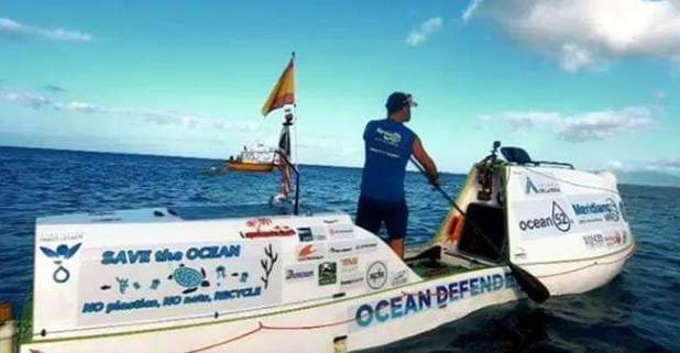 Antonio becomes first to paddleboard 2,900 miles across Pacific Ocean; creates history