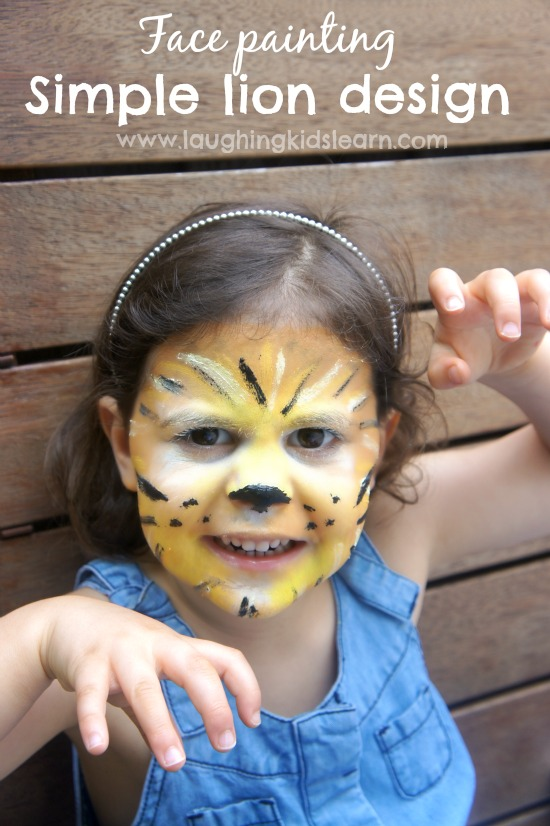 Simple face painting design of a lion   Laughing Kids Learn Simple lion face painting design