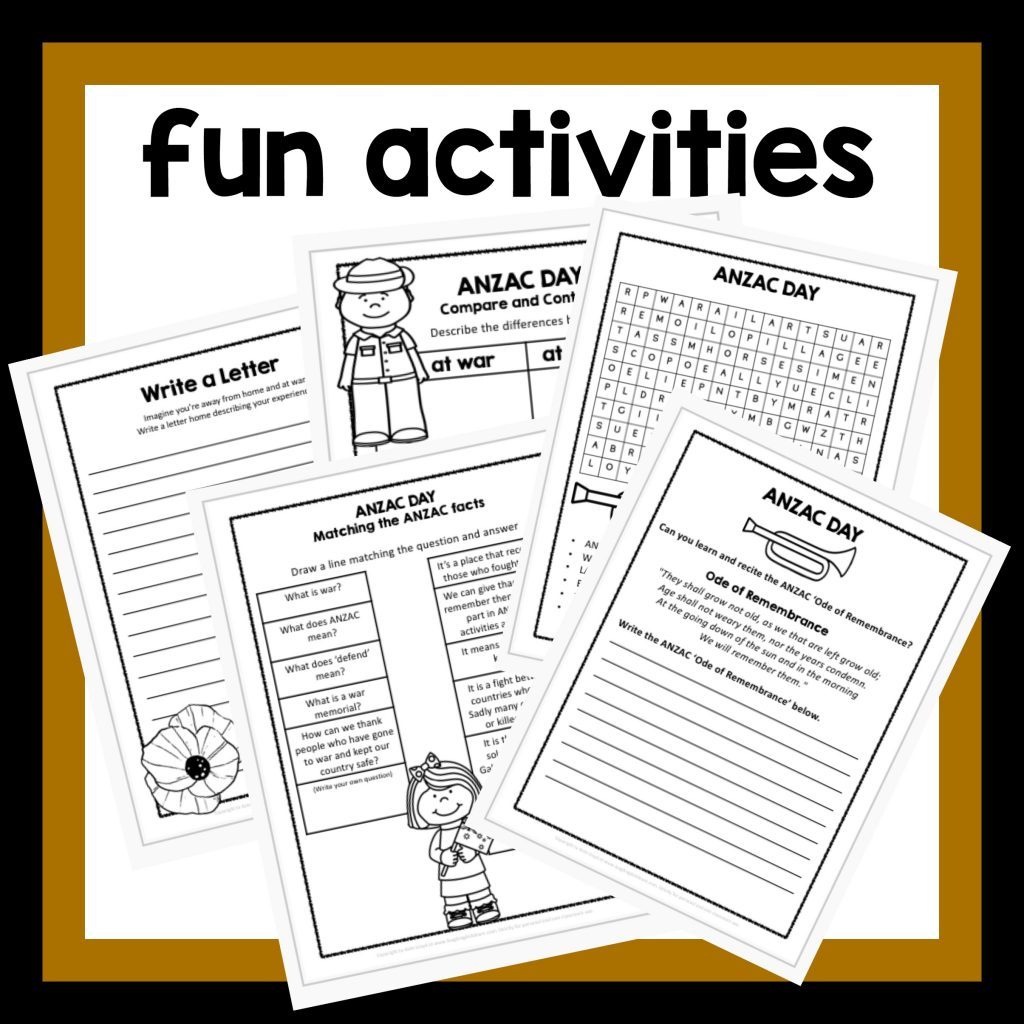 Printables Of Anzac Day Worksheet Year 1