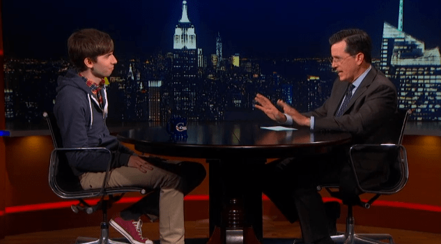 David Karp and Stephen Colbert.