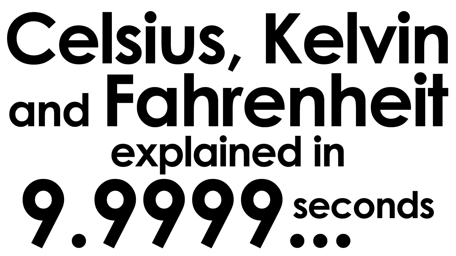 Fahrenheit Celsius And Kelvin Explained In Ten Seconds
