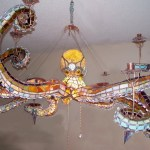 A Spectacular Stained Glass Octopus Chandelier
