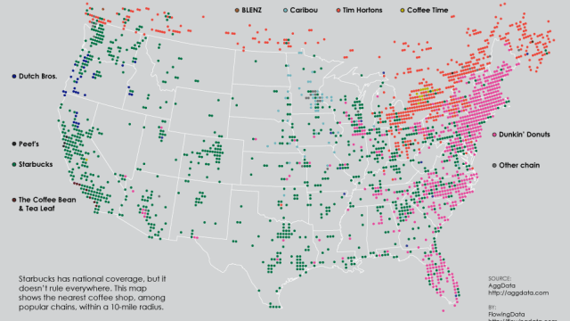 A Map Of Popular Pizza Chains In The United States - Us map data visualization