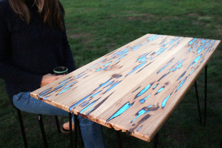 wooden table that glows in the dark