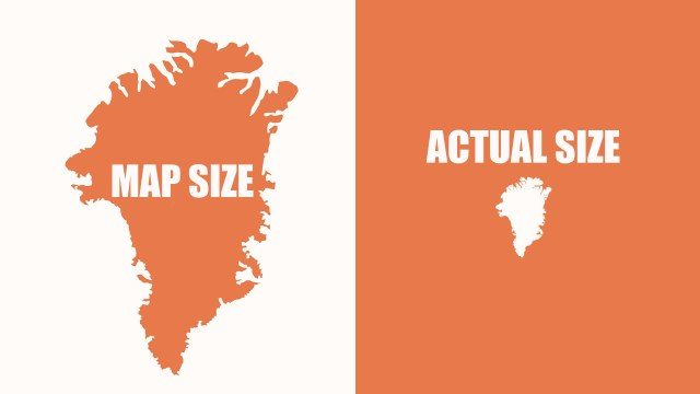 World Map With Actual Sizes.An Animated Mercator Projection That Reveals The Actual Size Of
