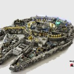 A Scaled Version of the Star Wars Millennium Falcon Built Out of LEGO Bricks and Minifigs