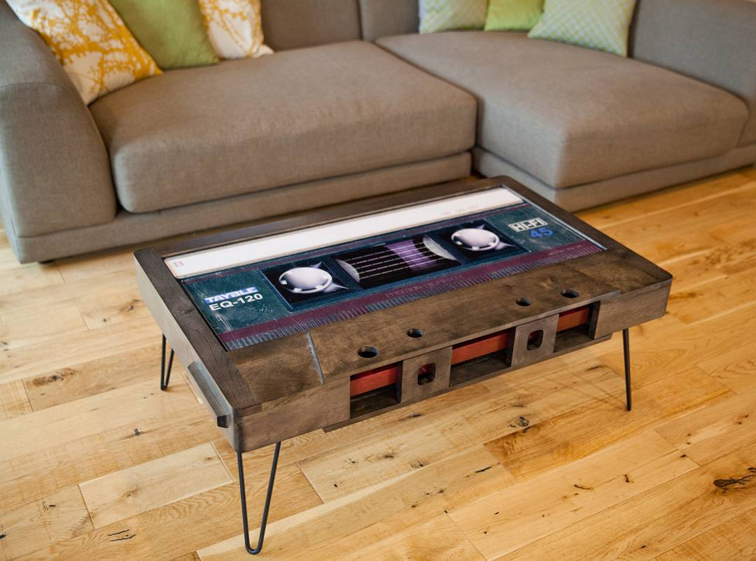 Attractive Inventively Stylish Coffee Tables Shaped Like Old School Cassette Tapes  With Cleverly Hidden Storage Amazing Ideas
