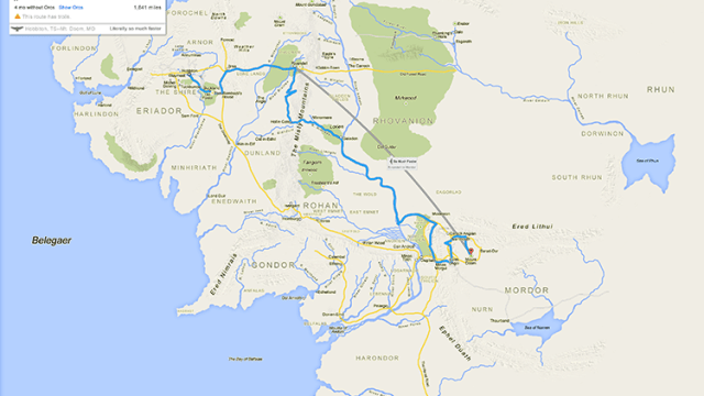 Amusing lord of the rings walking directions from the shire to a google maps view of frodo baggins journey across middle earth to mordor gumiabroncs Gallery