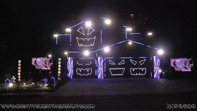Halloween Light Show, A House With LED Lights Synchronized to Music