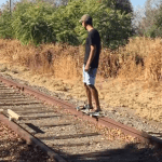 Man Builds a Custom Electric Skateboard That He Uses To Ride on Abandoned Railroad Tracks