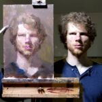 An Incredible Timelapse of a Talented Artist Drawing a Self-Portrait From His Reflected Image in a Mirror