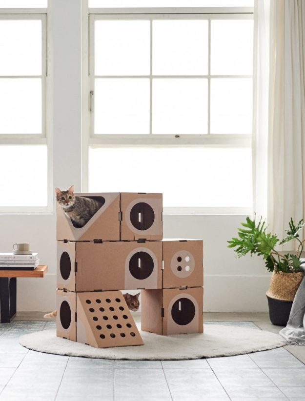 a-cat-thing-e1519240411839 Wonderfully Modular, Interchangeable Cardboard Cat Dwellings Designed by Taiwanese Architects Random