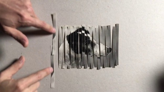 phot-shredding-strip-trick A Clever Collage Shredding Trick That Uses a Hand Cranked Pasta Machine to Duplicate a Photo Random