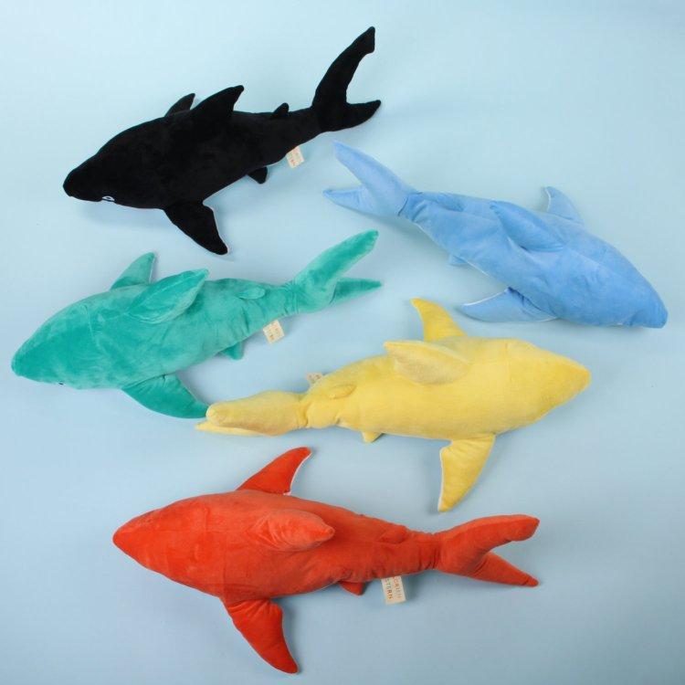 backside-sharks Soft Huggable Brightly Colored Shark Plushies Random