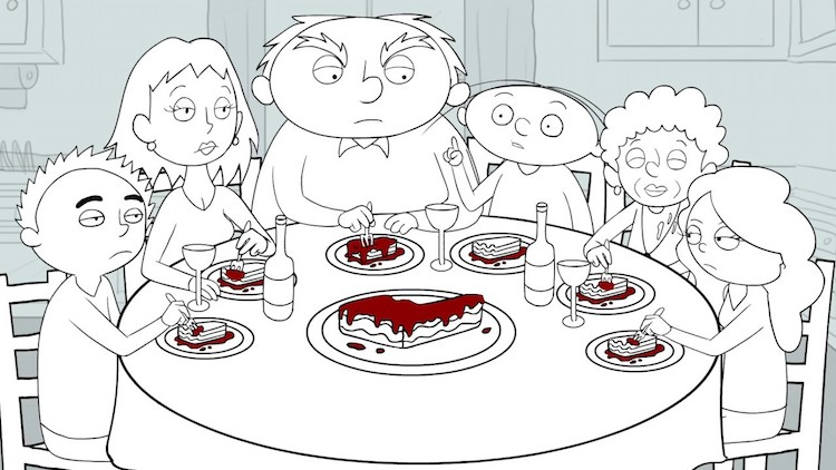 family-dinner-lauren-lorenzo Cartoonist Hilariously Animates the Conversation From a Beautiful Lasagne Dinner With Her Family Random