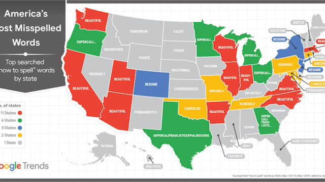 A Map Of The United States Plotting Each State S Top Searched Word