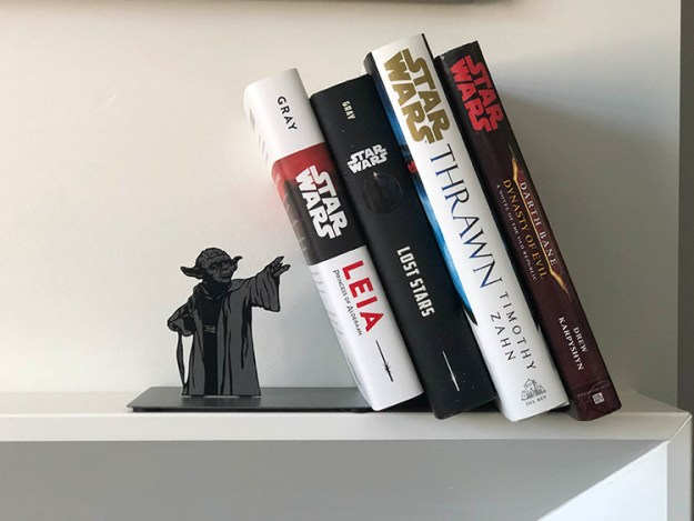star-wars-yoda-bookend-3 A Metal Jedi Master Yoda Bookend That Appears to Use the Force to Hold Up Books Random
