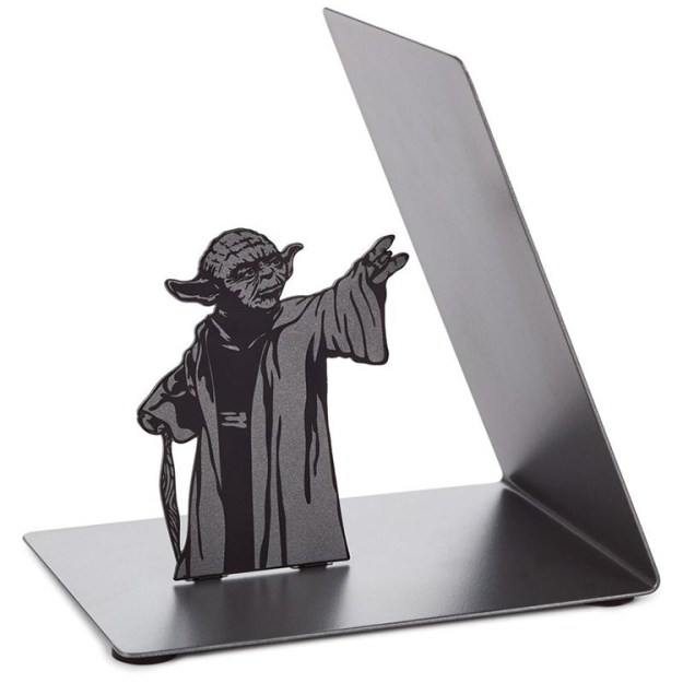 star-wars-yoda-bookend A Metal Jedi Master Yoda Bookend That Appears to Use the Force to Hold Up Books Random