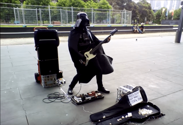darth-busker-bass-vader-melbourne Darth Vader Shreds the Intro Bass Licks of the RATM Song 'Killing In the Name' on a Melbourne Street Random