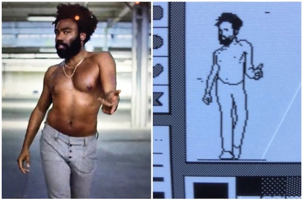 Donald-Glover-Pixelation-This-Is-America A Pixelated Recreation of Donald Glover Dancing in 'This Is America' Video Made With a 1990 Mac SE Random