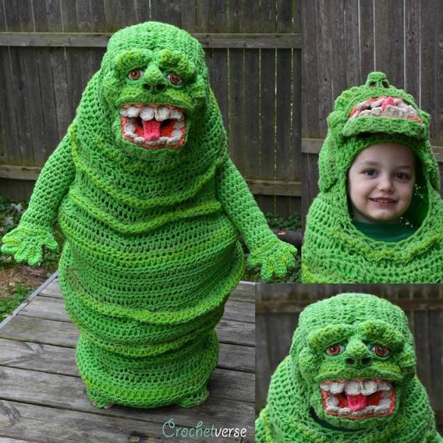 Ghost-Busters-Slimer-Costume Talented Mother Crochets a Freehand Bright Green Ghostbusters Slimer  Costume for Her Youngest Son Random