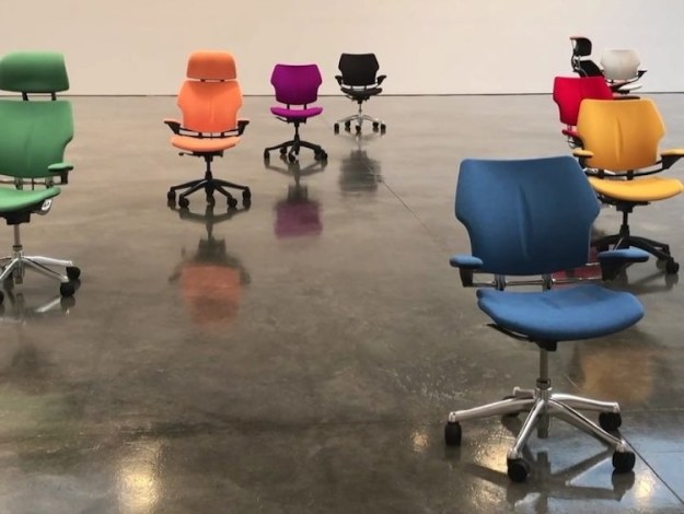 PLAY-Autonomously-Dancing-Chairs Nine Colorful Office Chairs Autonomously Perform a Choreographed Dance Upon a Highly Polished Floor Random