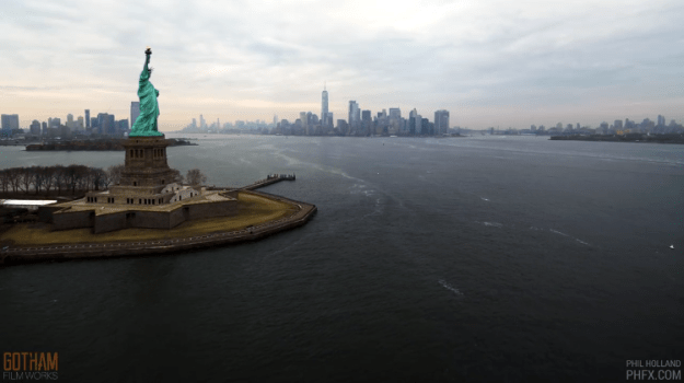 Sea-to-City1 Stunning Aerial Flight Over the Statue of Liberty Into New York City Captured in Long Form 12Ok Resolution Random