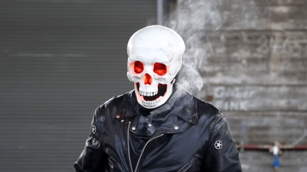 Ghost-Rider-Mask An Amazing 3D Printed Ghost Rider Mask Complete With Blinking LED Eyes and Working Smoke Effects Random