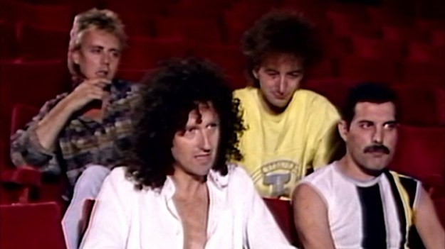 Queen-Interview-at-Shaw-Theater-before-Live-Aid The Members of Queen Talk About Their Upcoming 1985 Live Aid Gig Backstage Before a Stage Rehearsal Random