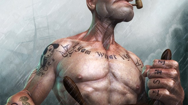 popeye the sailor man suffers the realistic consequence of eating a