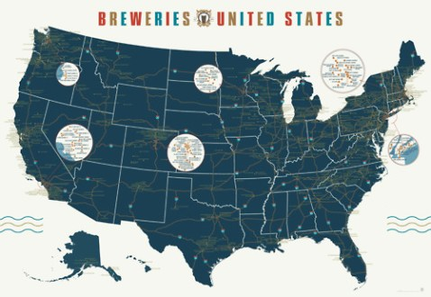 A Map of Over 1 000 Breweries Across the United States