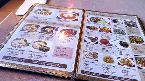 The naengmyeon combos (bottom left).