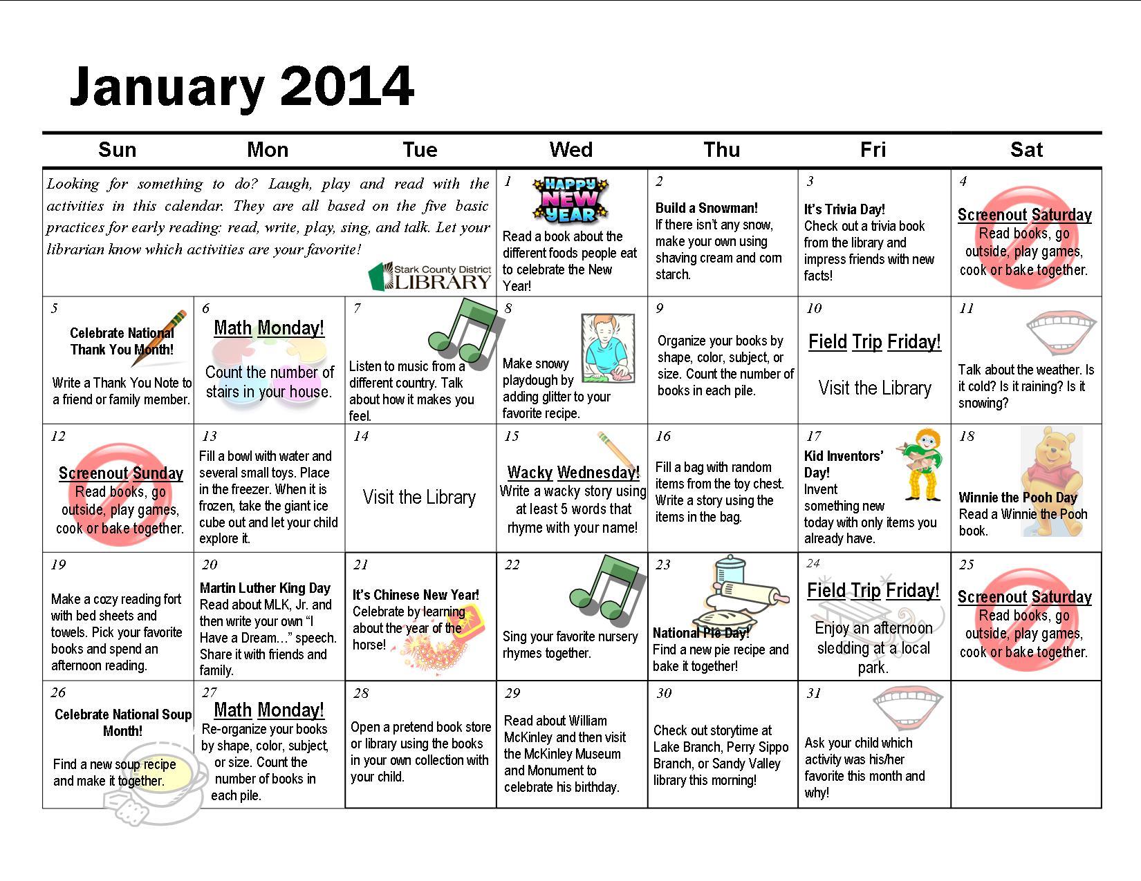 January Activities Fondos De Pantalla