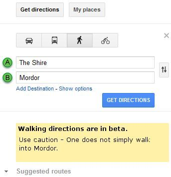 Directions to Mordor