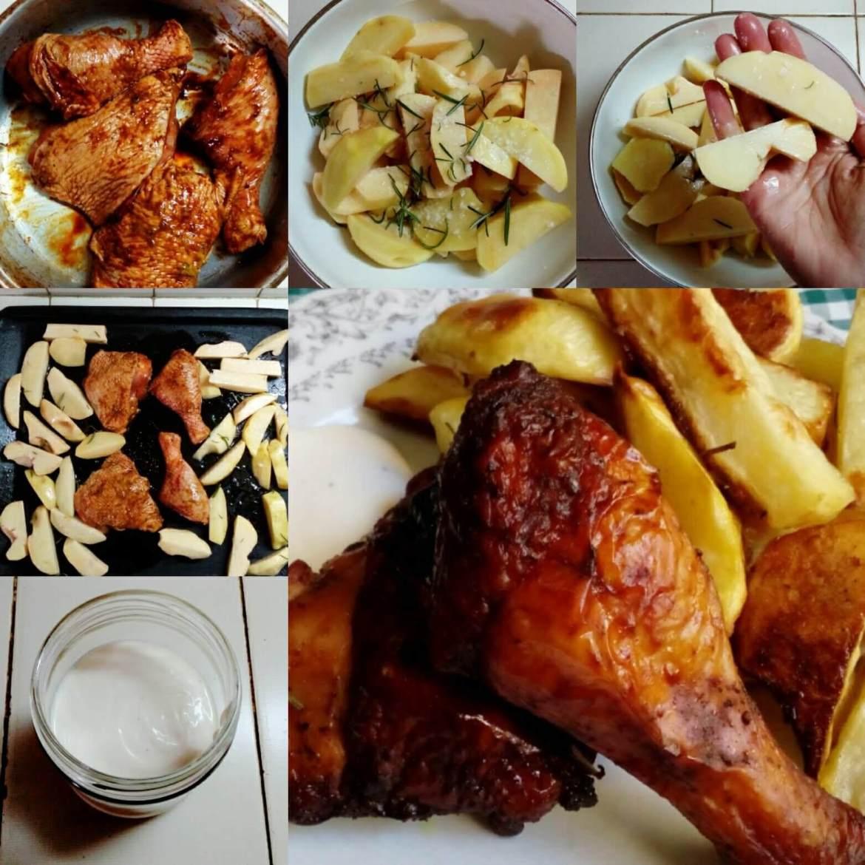 receta pollo al horno y papas