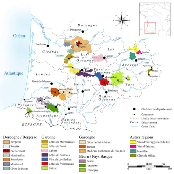 Suroeste mapa vino Francia