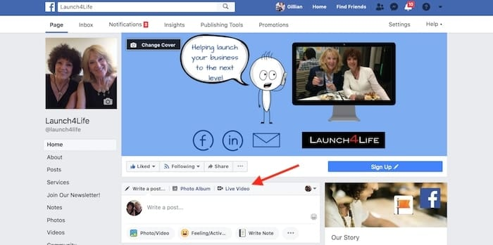 Facebook Live For Business starting a session
