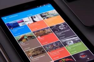 Smart phone with website design open.