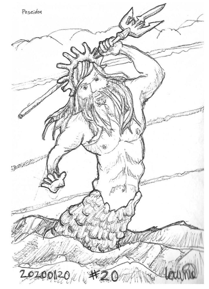 2020 Sketch of the day Number 20: Poseidon