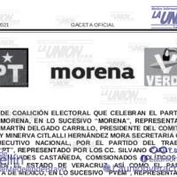"""Se Publica Alianza MORENA-PVEM-PT en Veracruz, """"Juntos Haremos Historia en Veracruz""""."""