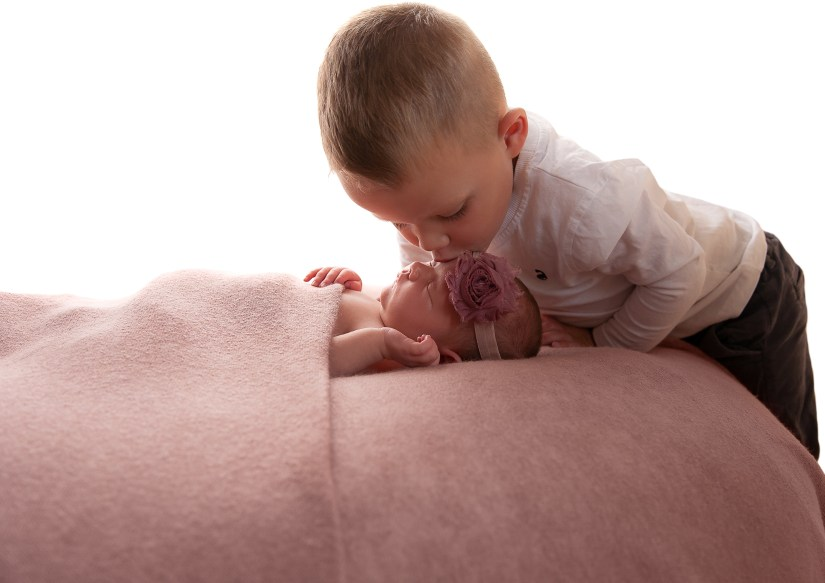 Brother and sister. Newborn baby photos
