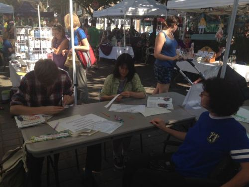 Participants at Stitching with Purpose at Artful Sundays.
