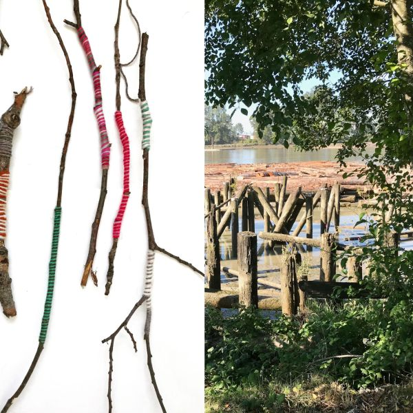 image of yarn-wrapped sticks and a detail of the fraser river