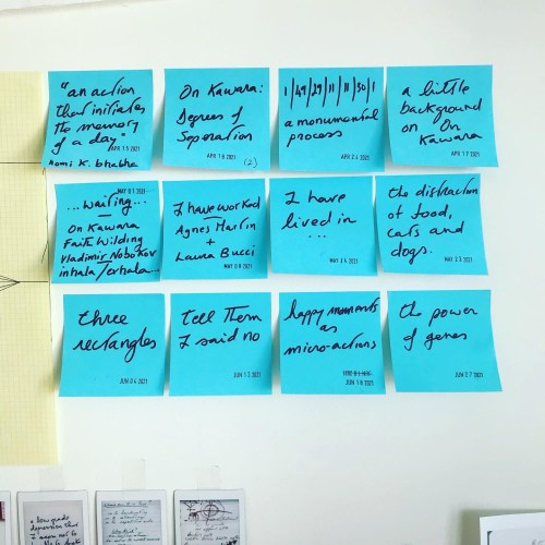 An image of a white wall showing 3 rows and 4 columns of blue post it notes with text and date stamp on each post it