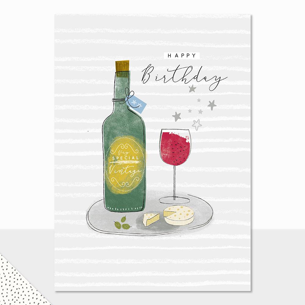 Halcyon Happy Birthday Wine Bottle Laura Darrington Design